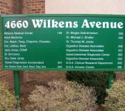 Advertising sign of Wilkens Avenue